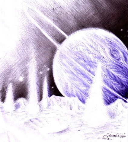 Peisaj de pe Triton desenat cu pixul