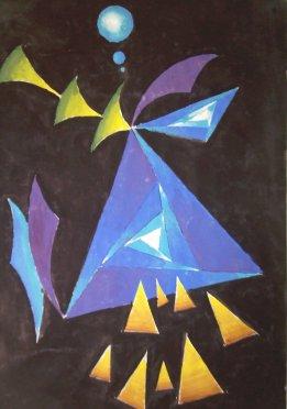 Pictura abstracta cu triunghiuri