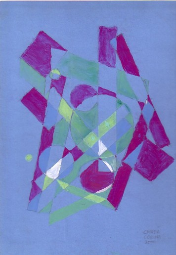 Pictura abstracta in acuarela pe hartie albastra