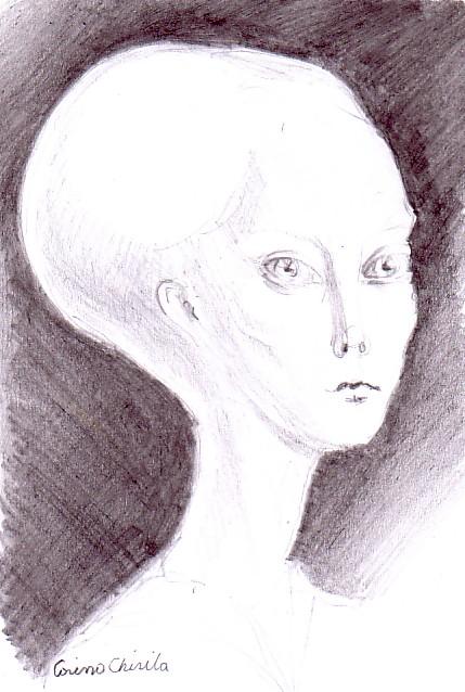 Portret de extraterestru, desen in creion