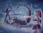 Legenda zodiei scorpionului - Scorpionul creat de zeita Artemis pentru uciderea vanatorului Orion pictura ulei pe panza
