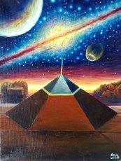 Piramida din zona Cydonia de pe Marte, pictura vanduta in 2012 la o expozitie in herastrau
