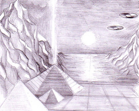The Cydonia pyramids on Mars by the time there was a civillisation on Mars pencil drawing - Piramida de pe Marte desen in creion