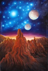 Un peisaj de pe alta planeta cu munti stancosi stele albastre si un apus sau rasarit de soare acolo - pictura ulei pe panza - Oil on canvas space painting with blue stars and sunrise
