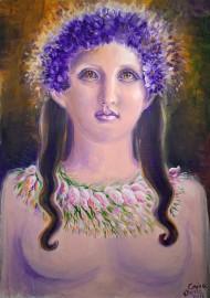 Portretul poetei Sappho purtand o cununa de violete pe cap