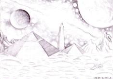 Zona Cydonia de pe Marte desen in creion