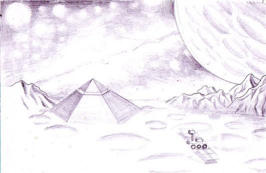 Zona Cydonia desen in creion - Cydonia pencil drawing