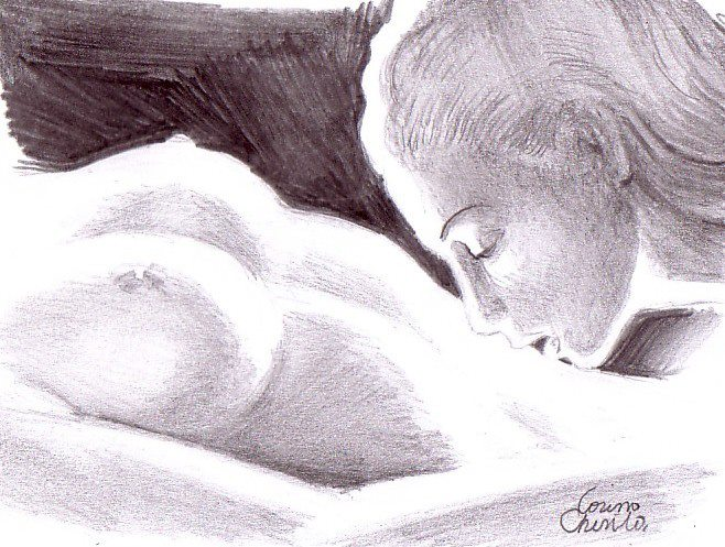 A kiss on her belly erotic lesbian pencil drawing