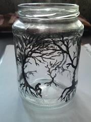 Borcan pictat cu copaci