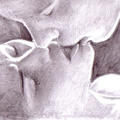 Desen erotic in creion -Making love kissing her pencil drawing