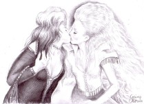 Lesbian kiss pencil drawing