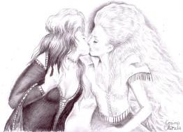 Lesbian kiss pencil drawing