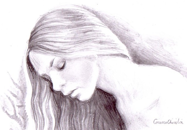Portret de fata ganditoare, desen in creion