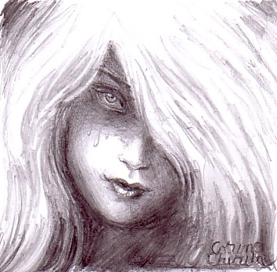 Portret de fata rea desen in creion