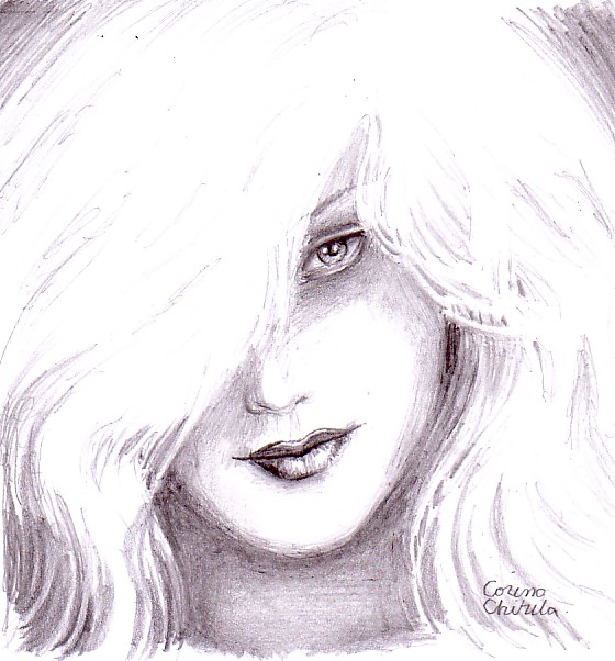 Portret de femeie sexy desen in creion - Sexy woman portrait pencil drawing