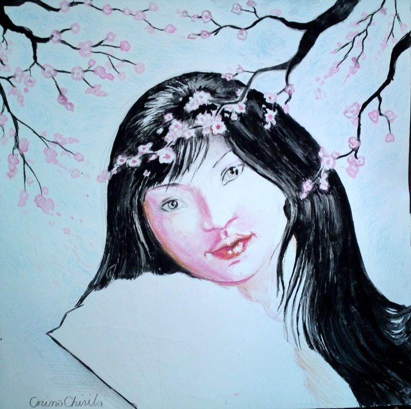 Portret de japoneza cu cires inlorit