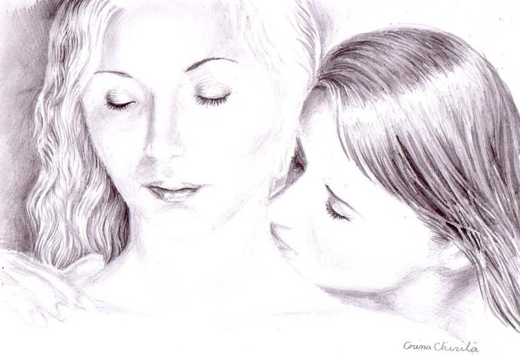 Un sarut pe gatul ei fin, desen in creion