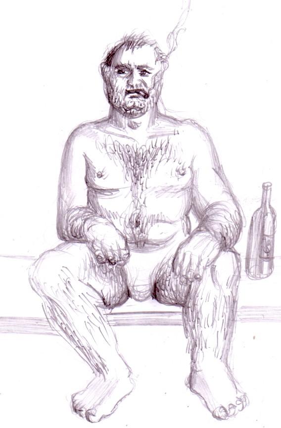 Barbat desenat in creion