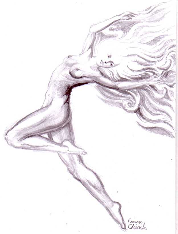 Desen in creion avand ca tema o femeie in asteptare ce asteapta sa fie gasita si iubita