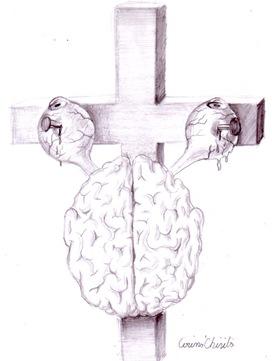 Creierul unui crestin rastignit pe cruce desen ion creion - Christian brain pencil drawing