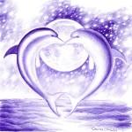 Delfini indragostiti, desen facut cu pixul