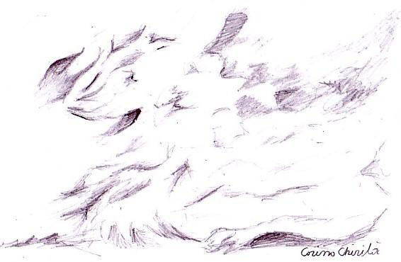 O himera, desen in creion