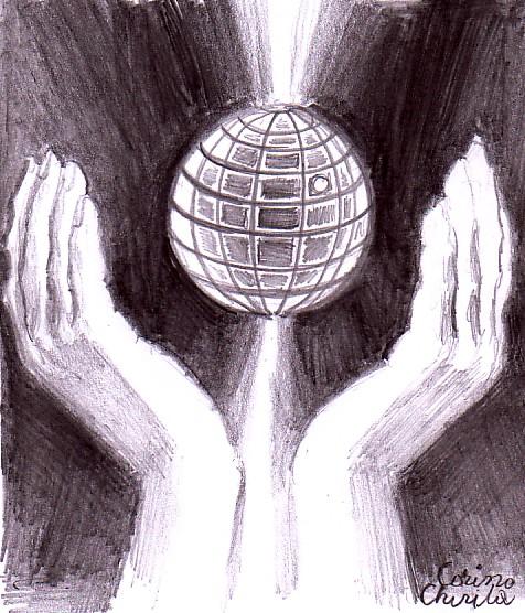 Ocrotind sfera, desen in creion