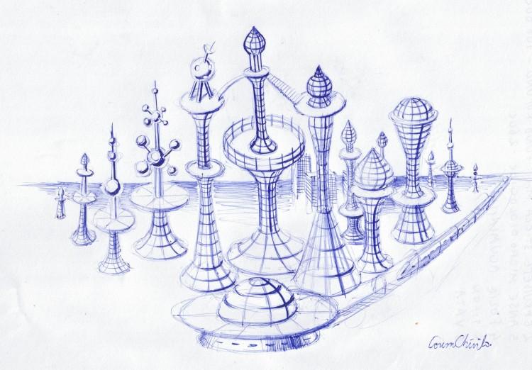 Oras Sf din viitor, desen in pix