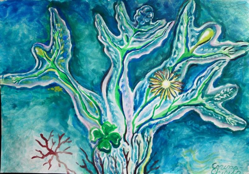 Stricturi biologice, pictura in acurela inspirata din creatia unui copil cu autism