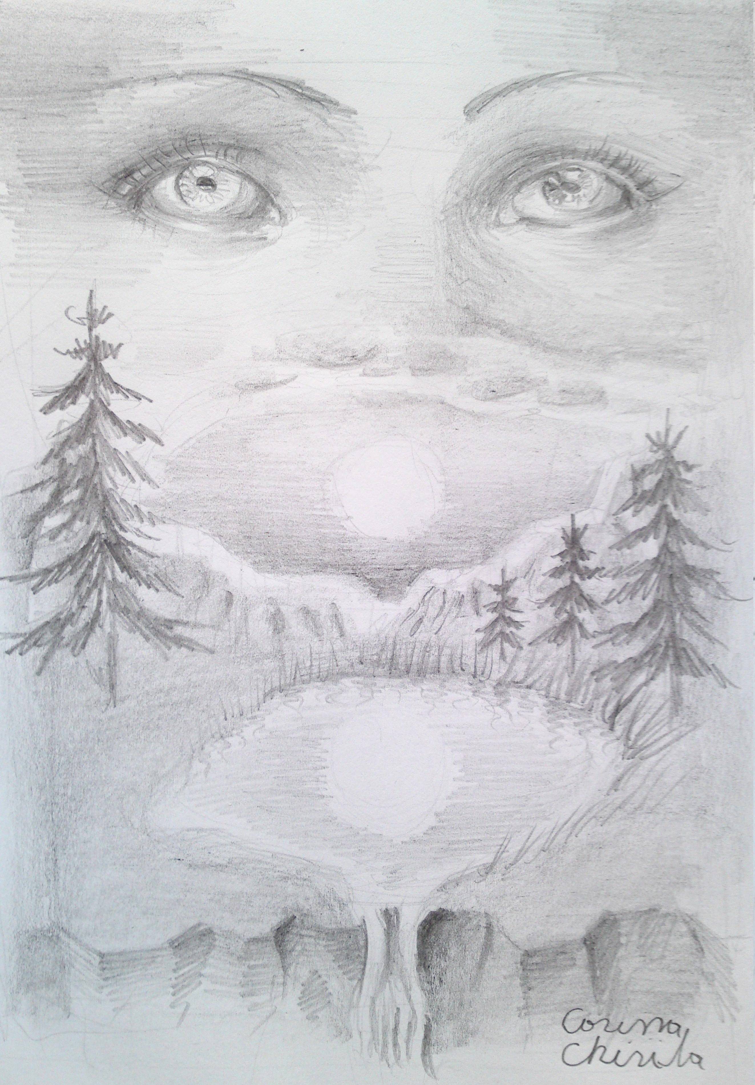 Desen Creion Inspirat Poezia Lucian Blaga Amintire Imagini Peisaje Toamna Acuarela