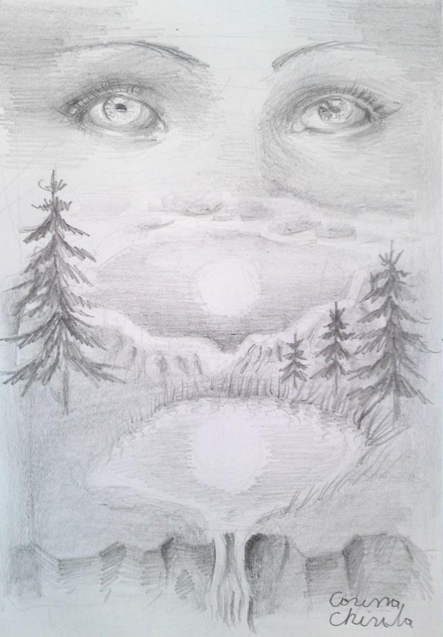 Amintirea lui Lucian Blaga, desen in creion