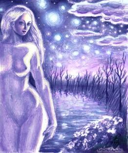 Din cerurile albastre, desen in creion inspirat din poezia lui Mihai Eminescu colorat in Photoshop