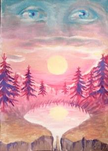 Amintire, pictura in tempera inspirata din poezia lui Lucian Blaga