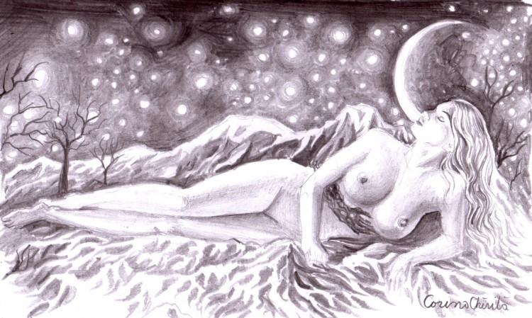 Desen in creion inspirat din poezia Infrigurare de Lucian Blaga