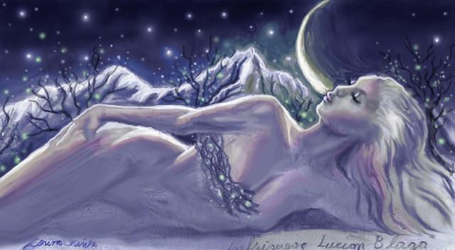 Desen in creion colorat in Photoshop inspirat din poezia Infrigurare de Lucian Blaga