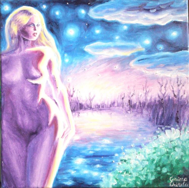 Din cerurile albastre, pictura in ulei pe panza inspirata din poezia lui Mihai Eminescu