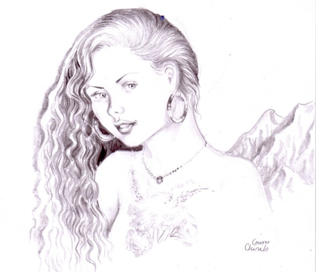 Portret de fata cu cercei in creion