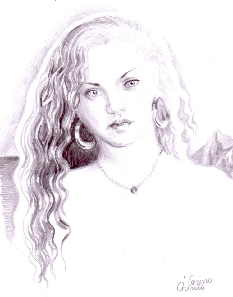 Portret de fata cu cercei, desen in creion
