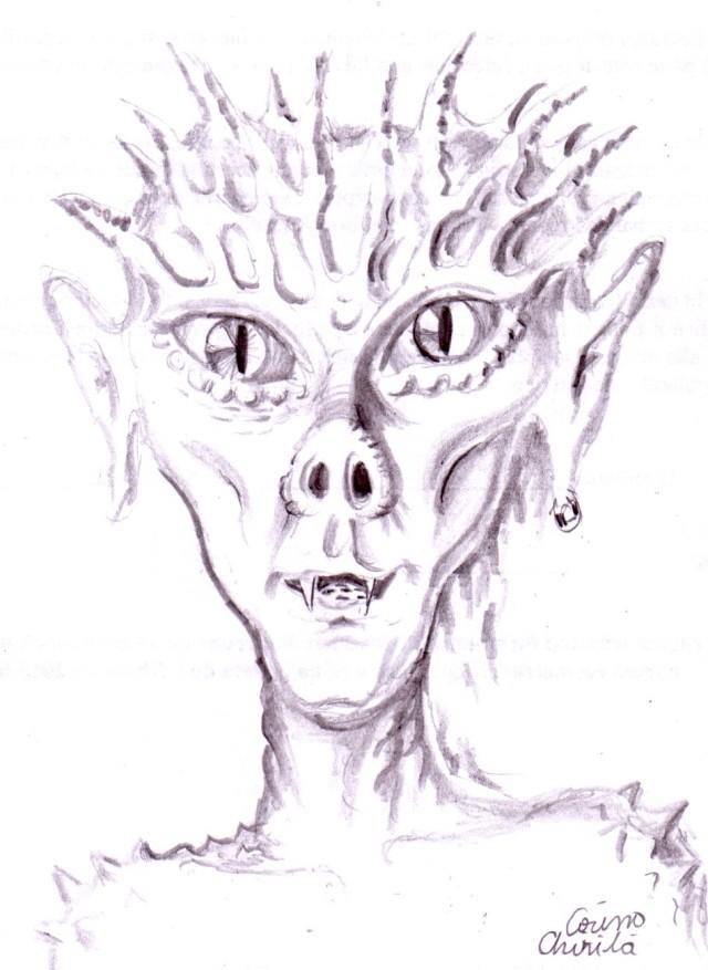 Portret de extraterestru reptilian, desen in creion