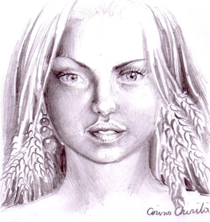 Portret estival cu spice de grau, desen in creion