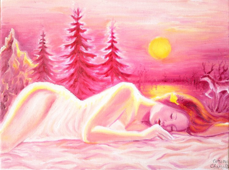 Vara de noiembrie, pictura in ulei pe panza inspirata din poezia lui Lucian Blaga