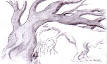 Desen in creion cu animale - Dinozaur si copac