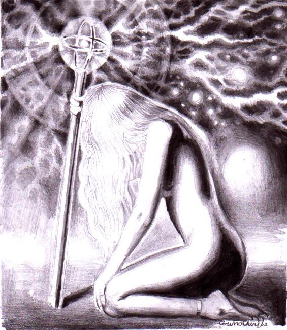 Femeia cu sceptru sau stapana electricitatii desen in creion