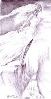 Sinuciderea unei mirese, desen in creion