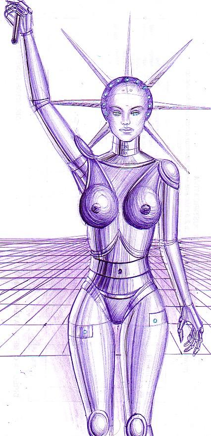 Statuia libertatii sub forma de robot, desen in pix din 2004