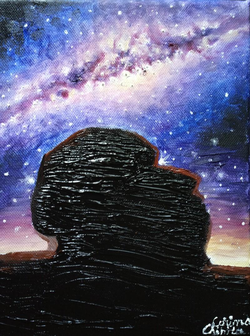 Sfinxul de la Varful Omu si Calea Lactee, pictura ulei pe panza