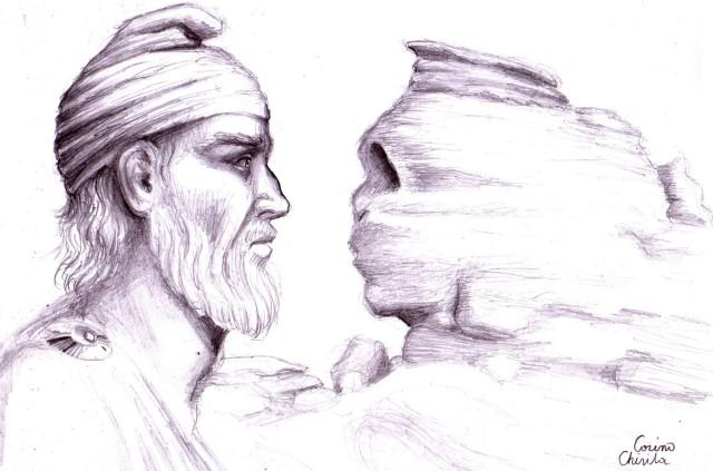 Un dac tarabostes si sfinxul din Bucegi, desen in creion