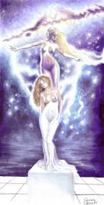 Afrodita dand viata statuii Galateea, desen in creion colorat in Photoshop