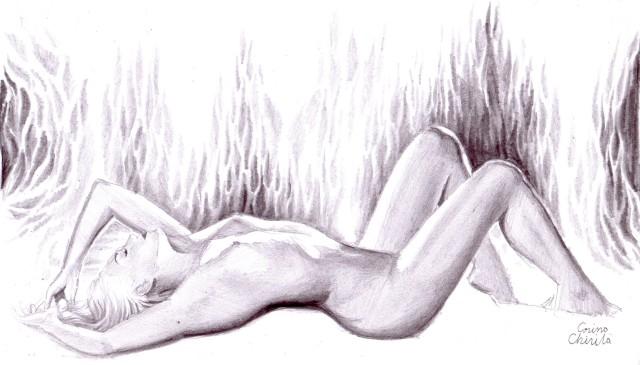 Danae nud in pestera sub ploaia de aur, desen in creion