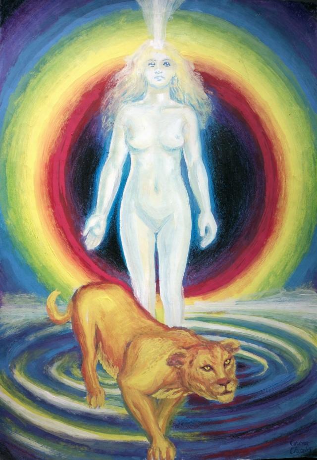 Leoaica tanara iubirea, pictura in tempera inspirata din poezia lui Nichita Stanescu